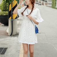 Literary fresh loose cotton dress embroidered flowers