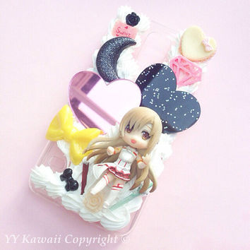 Custom kawaii Sword Art Online Kirito Asuna Decoden Phone Case for Iphone 4 5/5s 5c Galaxy S3 S4 S5 and More