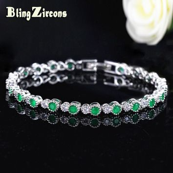 BlingZircons 925 Sterling Silver Round Crown Shape Natural Green White Cubic Zirconia Setting Tennis Bracelets For Women B105