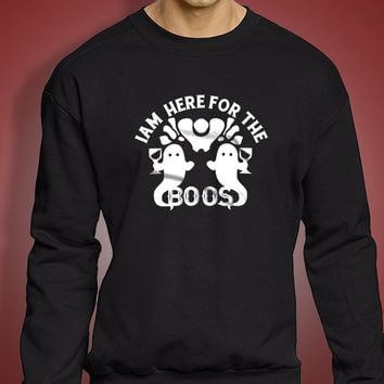 I'M Here For The Boos With Twin Ghosts Halloween Costume Halloween Party Men'S Sweatshirt