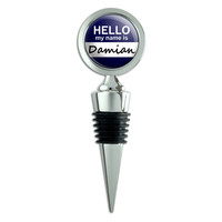 Damian Hello My Name Is Wine Bottle Stopper