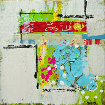 Small Modern ABSTRACT Art Painting on canvas, Contemporary Urban Raw Art 6x6