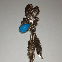 Sleeping Beauty Turquoise Pendant Navajo Sterling Silver Eagle Feathers Enhancer Slide Charm 4 Necklace Vintage Southwestern Jewelry Gift