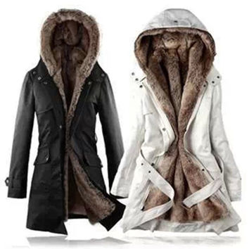Women Warm Winter Coats Thicken Fleece Fur Lined Jackets Outers Garments Beige = 1930326916