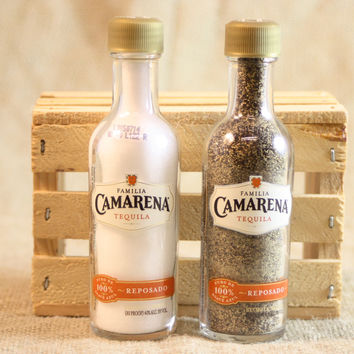 Salt & Pepper Shaker from Upcycled Glass Camarena Tequila Mini Liquor Bottles