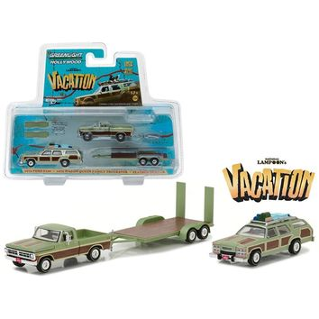1972 Ford F100 Pickup with 1979 Wagon Queen Family Truckster with Flatbed Trailer which has Working Ramps \National Lampoon\s Vacation\ Movie (1983) Hollywood Hitch and Tow Series 4 1-64 Diecast Mo