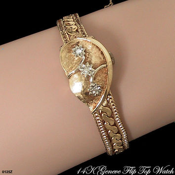 Vintage 14K Solid Gold Flip Top Bracelet Watch with Diamonds Geneve c 1950s