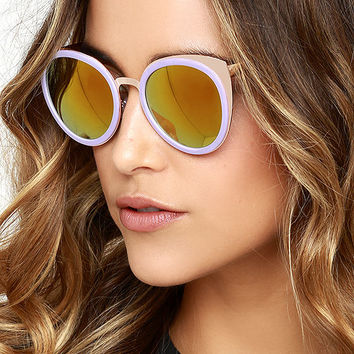 To the Future Gold and Lavender Mirrored Sunglasses