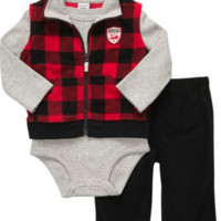 Carter's Baby Boy's 3 Pc Vest Set - Buffalo Check - 9 Months
