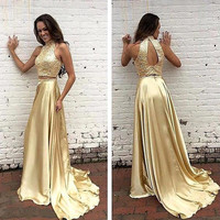 Two Piece  Prom Dresses 2017 New Sexy Off the Shoulder Gold Chiffon  Evening Gowns Vestidos De Formatura