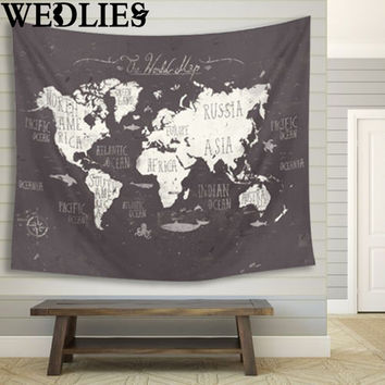 World Map Indian Mandala Wall Hanging Tapestry 150X130cm Yoga Mat Throw Blanket Cloth Home Living Room Art Wall Decor Mural