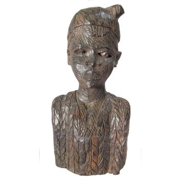 Pre-owned Carved Ebony African Figural Statue