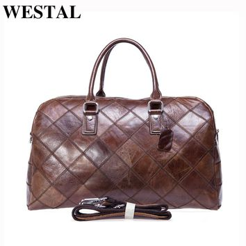 WESTAL Luggage Travel Duffle Bags Mulitifunction Shoulder Bags Genuine Leather Bag Men Leather Handbag Men Travel Bag Suitcase