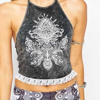 ASOS Festival Top With Halter And Embriodered Motif