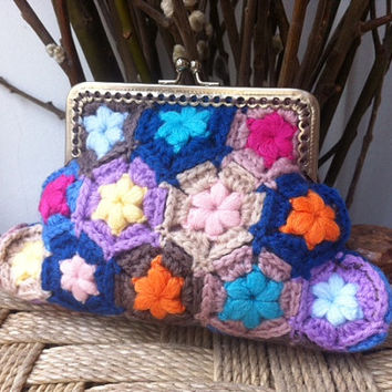 Framed coin purse crochet kiss lock purse granny squares flowers