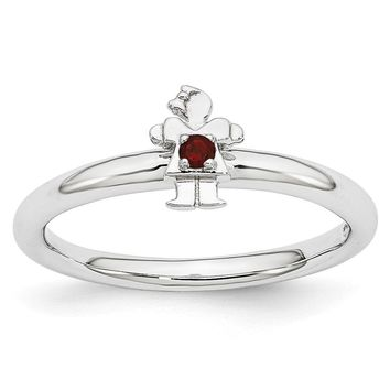 Rhodium Plated Sterling Silver Stackable Garnet 7mm Girl Ring