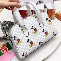 GUCCI & Disney Fashion New More Letter Mouse Leather Shopping Leisure Shoulder Bag Crossbody Bag Handbag White