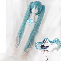 Vocaloid Hatsune Miku Vocal Concert Gig Show Wavy Ponytails Braids Anime Cosplay Wig Gradient Color