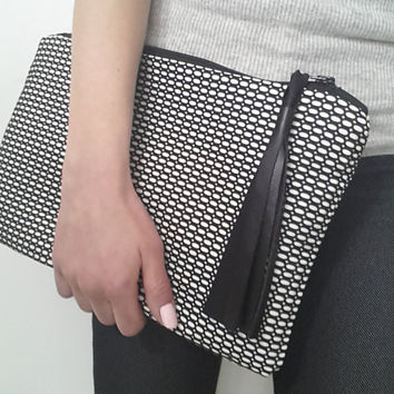black and white clutch, oversized clutch, handbag, evening bag, large clutch, pochette, rock style, zipper purse, white and black bag