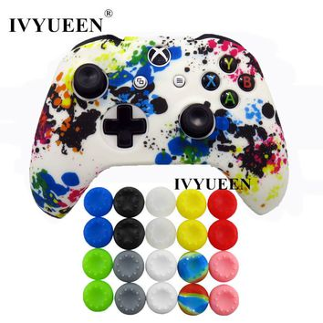 IVYUEEN Water Transfer Printing Camo Silicone Cover Skin Case for Xbox One X S Controller with 20 pcs Thumb Stick Grips Caps
