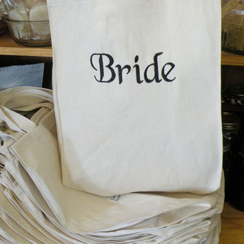 Tote Bag Wedding favor for Bride Bridesmaid Maid of Honor Mother of the Bride and Groom Embroidered Personalized Name