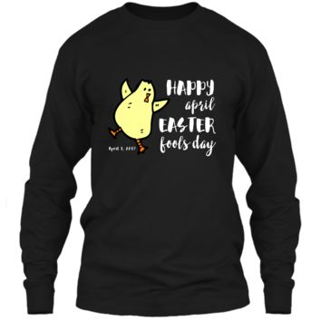 Happy April Easter Fools Day T-Shirt Funny Dancing Chick LS Ultra Cotton Tshirt