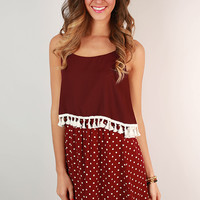 Dream Team Polka Dot Dress in Maroon