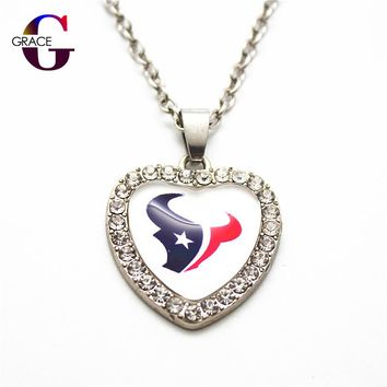 1pcs Fashion Houston Texans Football Sports Charms Heart Crystal Necklace Pendant With 50cm Chains For Women Men Diy Jewelry
