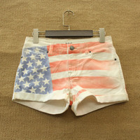 BDG Star Striped Jeans Shorts