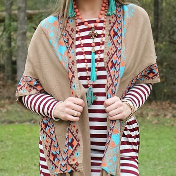 Neon Moon Tan Cardigan with Burgundy, Turquoise and Coral Aztec