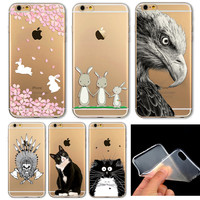 iPhone 6 6s Soft Phone Case Cover Cute Animal Cat Owl Rabbit Pattern
