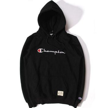 Champion Fashion Casual Title Logo Three Dimensional Embroidery Sweethearts Outfit Fleece And Wool Thickening Hooded Fleece Black