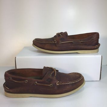 Preloved! Sperry Men's Brown Cross Lace Pull-Up Boat Shoe, Size 9.5M