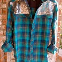 "Sequin Flannel Shirt - The Boyfriend ""Kissed by Daisies"" Flannel Shirt"