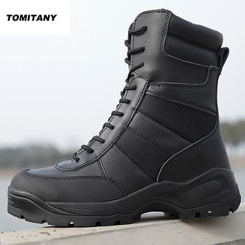 Military Tactical Combat Boots Men Leather Waterproof Black Camping Trekking Outdoor Shoe Man Climbing Hunting Hiking Shoes