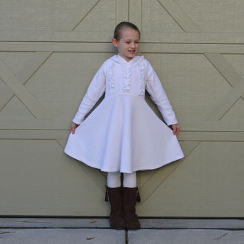 Girls White Fleece Dress with Ruffles size 1,2,3,4,5,6,7,8 Many Colors Available!