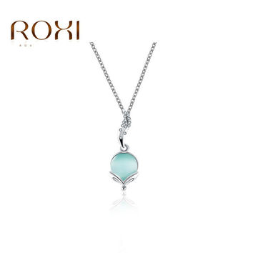 ROXI Brand Top Quality Fashion Womens Necklaces Flower Pendants Rhinestone Crystals Opal Gifts Jewelry For Valentine's Day