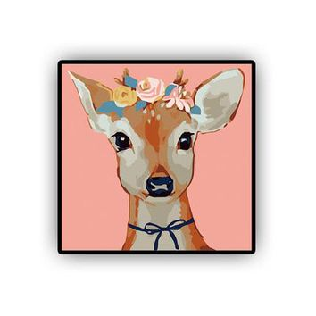 Deer DIY Kids Paint By Numbers Kit: Includes Acrylic Paints, Brushes and Canvas with Frame Option