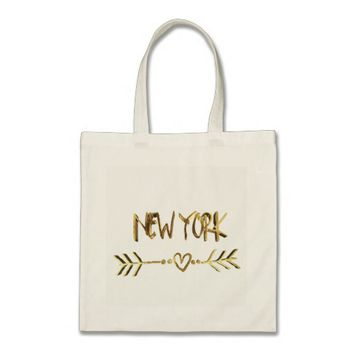 New York Heart Arrow Elegant Gold Brown Typography Tote Bag