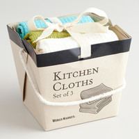 Green, Aqua and White Take-Out Box Dishcloths - World Market