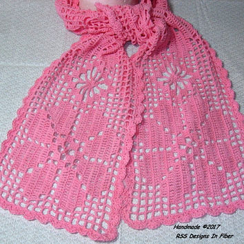 Pink Lace Flower Scarf - Handmade Filet Crochet Scarf - Pink Lace Scarf - Shabby Chic Flowers - or Dresser Scarf or Flower Table Runner