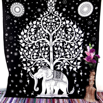 Elephant Tapestry, Indian Hippie Tapestries, Bohemian Tapestries, Tapestry Wall Hanging, Tree of life, Dorm Bed Spread, Wall Art