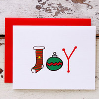 Sale - Christmas Joy Card.  Stocking & Ornament Drawings.  White, Red, Green Folded Card.  Red and Green Ornament.