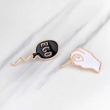 Trendy Cartoon Funny Hand Pop your EGO Balloon Pins Metal Enamel Black White Brooch Pins for Clothes Denim Jacket Bag Badge Jewelry AT_94_13
