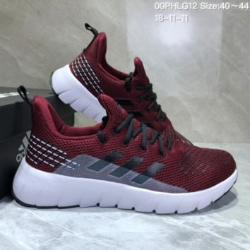 AUGUAU A492 Adidas Low Shock Non-skid Casual Running Shoes Wine Red Black