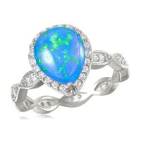 Sterling Silver Blue Opal Pear with Scalloped Band CZ Halo Ring