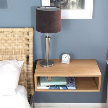 Floating Nightstand / Hanging Bedside Table in White Oak, Mid-Century Modern Inspired Floating Shelf Side Table Wood End Table Scandinavian
