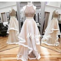 Sleeveless Sequined Crop Top Two Piece Prom Gown With Layered Tulle Skirt