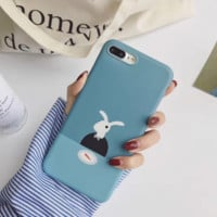Lovely Mr.rabbit printed plastic Case Cover for Apple iPhone 7 7Plus 6 Plus 6 -05011