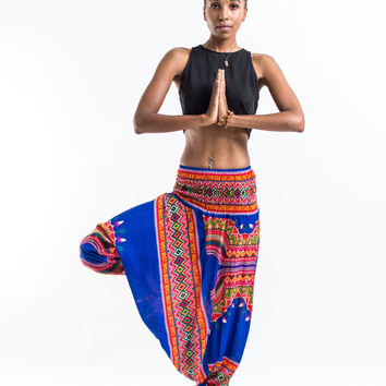 Dashiki Prints Jumpsuit Harem Pants in Blue